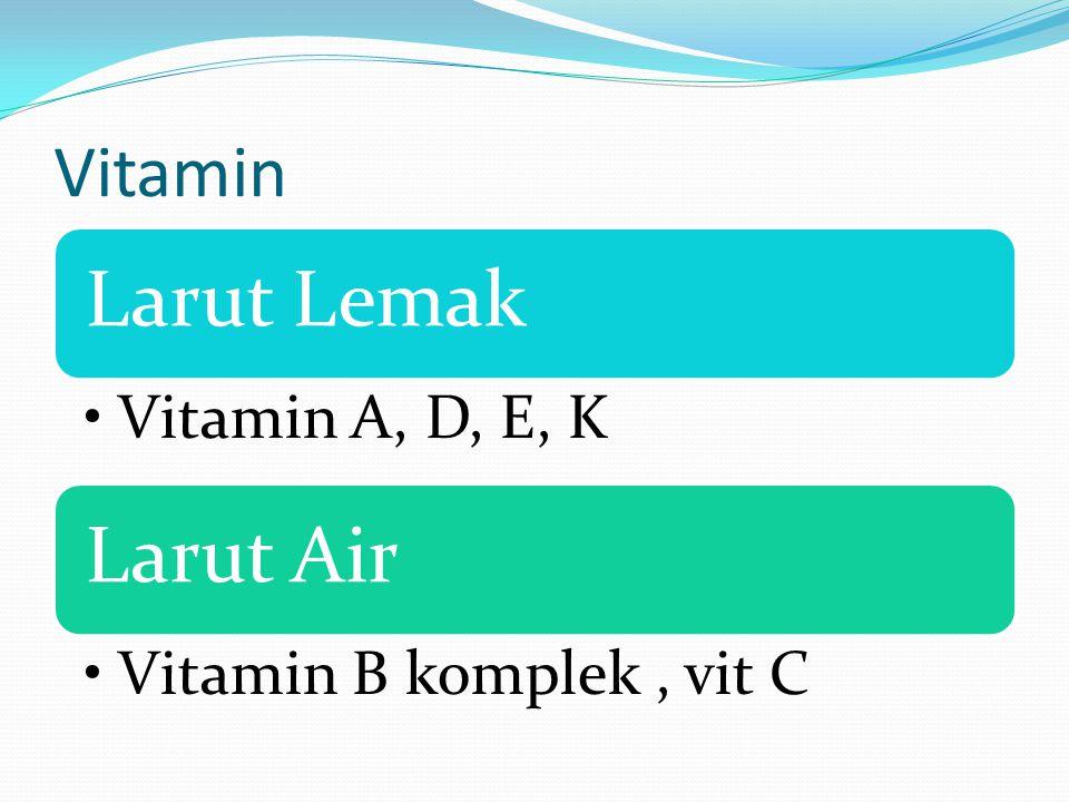 Vitamin Larut Lemak Vitamin A, D, E, K Larut Air Vitamin B komplek, vit C