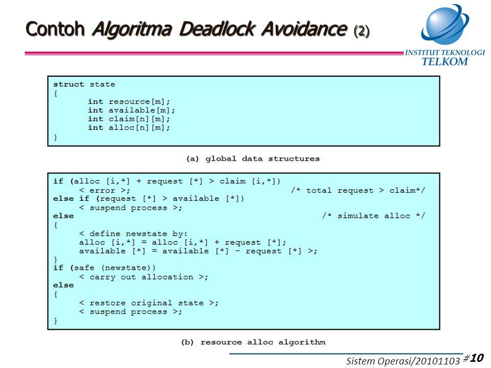Contoh Algoritma Deadlock Avoidance (2) # 10 Sistem Operasi/20101103
