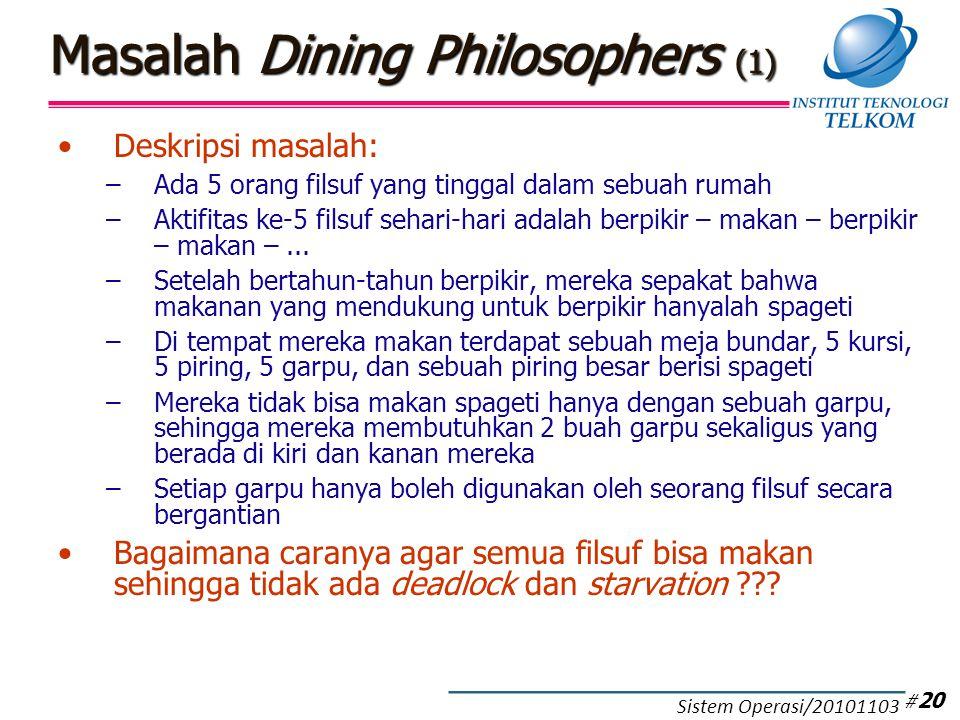 Masalah Dining Philosophers (1) Deskripsi masalah: –Ada 5 orang filsuf yang tinggal dalam sebuah rumah –Aktifitas ke-5 filsuf sehari-hari adalah berpi