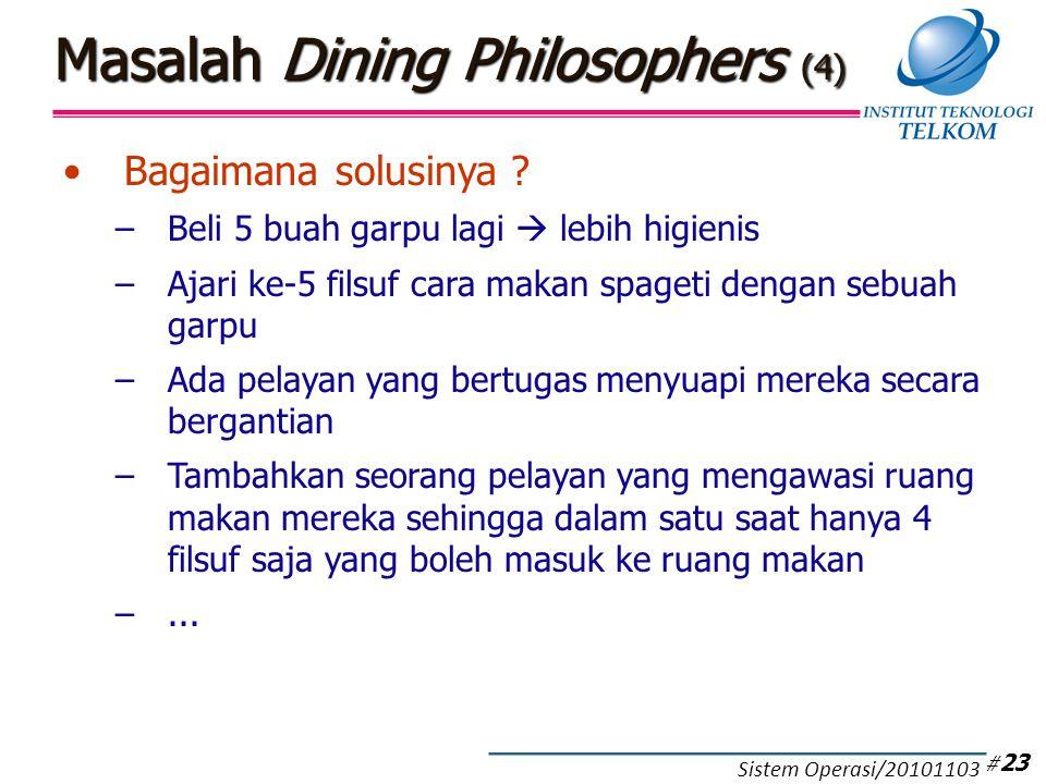 Bagaimana solusinya ? –Beli 5 buah garpu lagi  lebih higienis –Ajari ke-5 filsuf cara makan spageti dengan sebuah garpu –Ada pelayan yang bertugas me