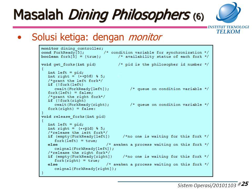 Masalah Dining Philosophers (6) Solusi ketiga: dengan monitor # 25 Sistem Operasi/20101103
