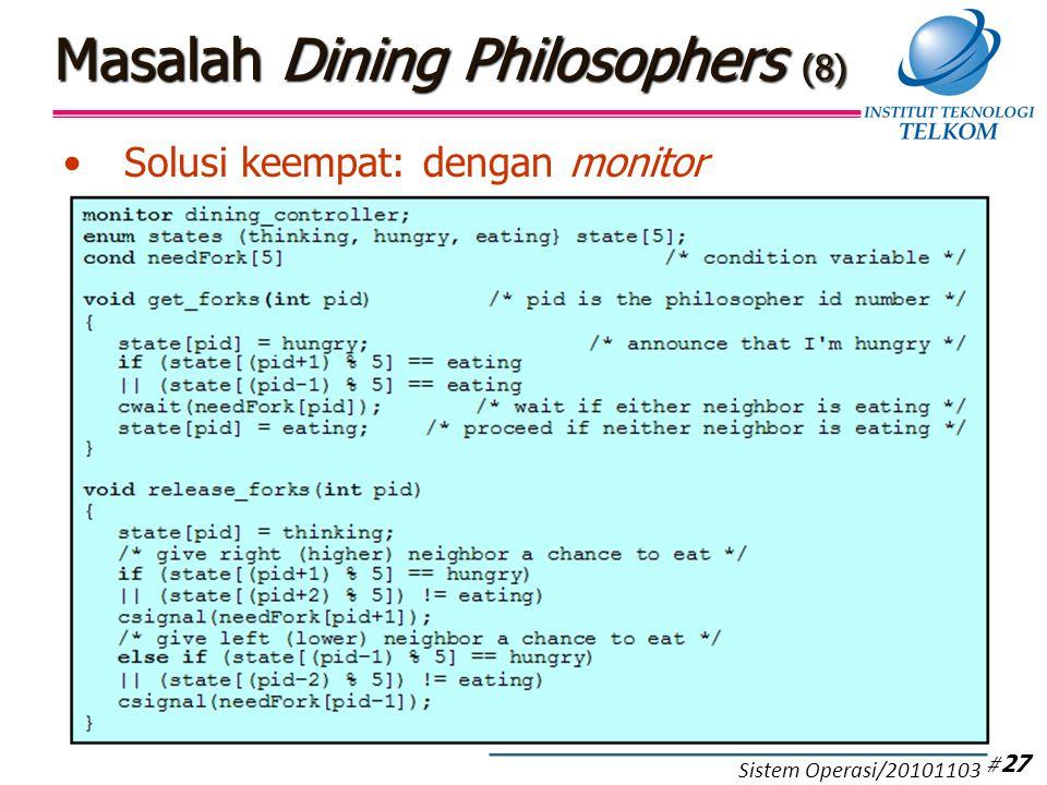 Masalah Dining Philosophers (8) Solusi keempat: dengan monitor # 27 Sistem Operasi/20101103