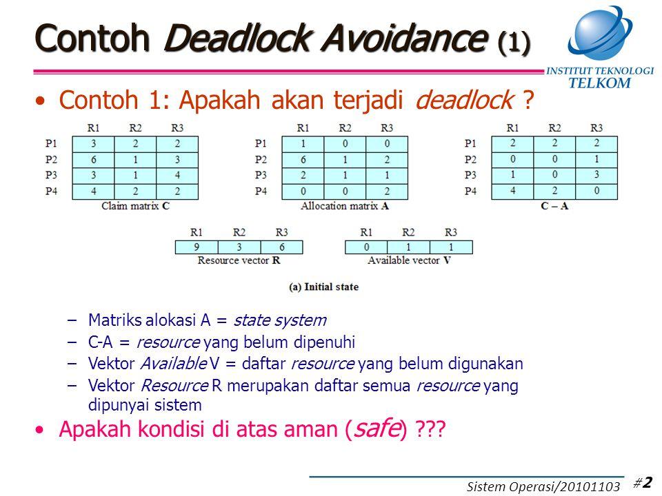 Deadlock Detection (1) Setiap proses boleh minta resource terus menerus selama masih tersedia Secara periodik sistem operasi menjalankan algoritma untuk mendeteksi terjadinya circular wait (deadlock) Proses yang tidak mengalami deadlock diberi tanda (mark) –punya tanda  tidak deadlock –tidak punya tanda  deadlock Definisi-definisi berikut ini masih digunakan: –Matrik Alokasi A- Vektor Available V –Vektor Resource R Matriks Request Q –Merupakan matriks yang berisi daftar semua resource yang diminta oleh masing-masing proses # 13 Sistem Operasi/20101103