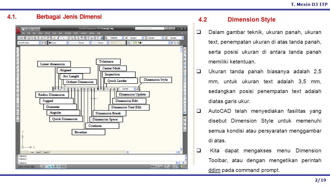 2/19 T. Mesin D3 ITP 4.1. Berbagai Jenis Dimensi 4.2 Dimension Style  Dalam gambar teknik, ukuran panah, ukuran text, penempatan ukuran di atas tanda