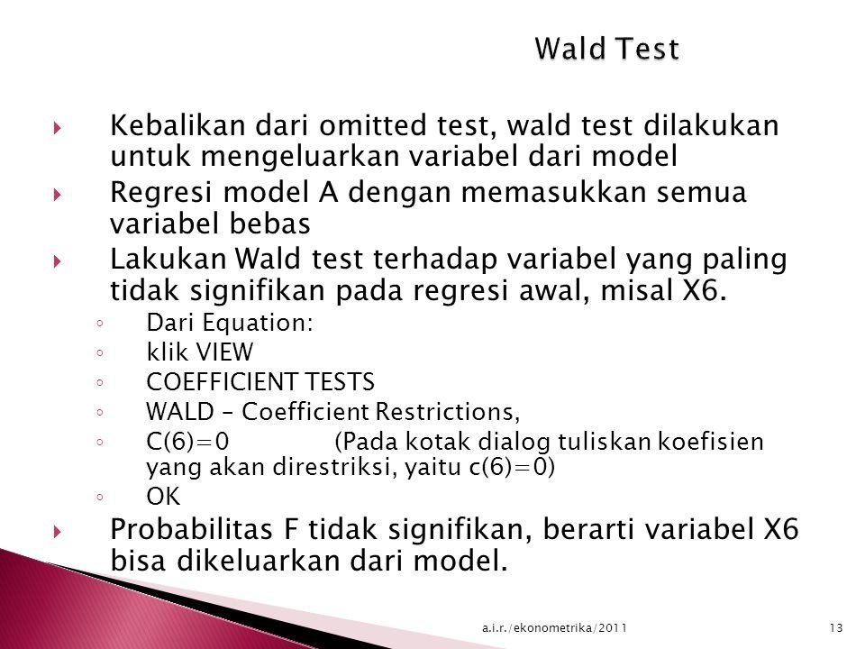  Kebalikan dari omitted test, wald test dilakukan untuk mengeluarkan variabel dari model  Regresi model A dengan memasukkan semua variabel bebas  Lakukan Wald test terhadap variabel yang paling tidak signifikan pada regresi awal, misal X6.