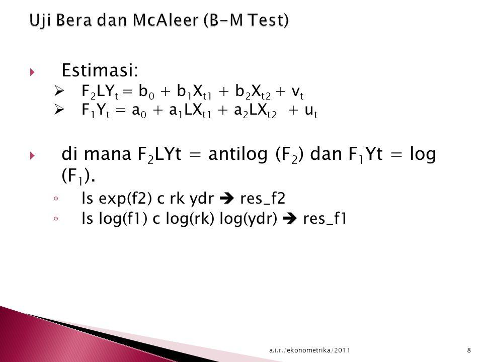  Simpanlah nilai V t serta U t  Lakukan regresi dengan memasukkan nilai residual  Y t =  0 +  1 X t1 +  2 X t2 +  3 u t + e t1  LY t =  0 +  1 LX t1 +  2 LX t2 +  3 v t + e t2  Uji hipotesis nol bahwa  3 = 0 dan hipotesis alternatif β 3 = 0.
