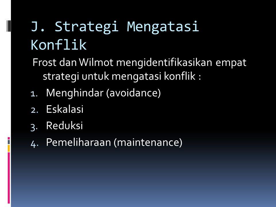 J. Strategi Mengatasi Konflik Frost dan Wilmot mengidentifikasikan empat strategi untuk mengatasi konflik : 1. Menghindar (avoidance) 2. Eskalasi 3. R
