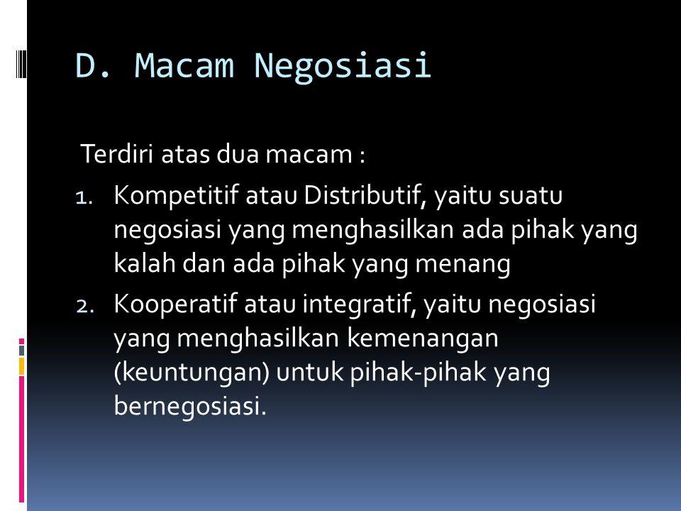 D. Macam Negosiasi Terdiri atas dua macam : 1. Kompetitif atau Distributif, yaitu suatu negosiasi yang menghasilkan ada pihak yang kalah dan ada pihak
