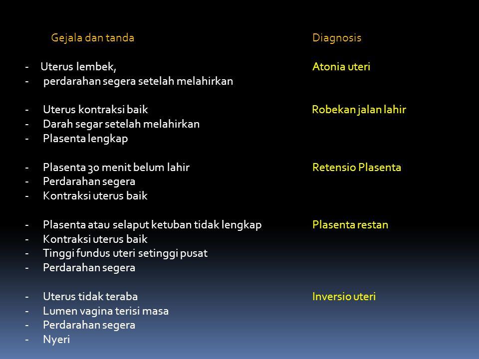 Gejala dan tanda Diagnosis - Uterus lembek, Atonia uteri - perdarahan segera setelah melahirkan -Uterus kontraksi baik Robekan jalan lahir -Darah sega