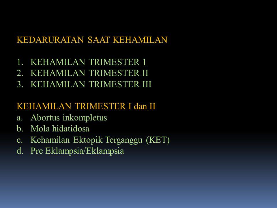 KEDARURATAN SAAT KEHAMILAN 1.KEHAMILAN TRIMESTER 1 2.KEHAMILAN TRIMESTER II 3.KEHAMILAN TRIMESTER III KEHAMILAN TRIMESTER I dan II a.Abortus inkomplet