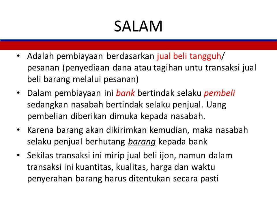 MURABAHAH: Praktek Perbankan Syariah 19 2. Beli 3. Barang 1a. Wakilkan 5. Bayar cicil 4. Jual NASABAH BANK PIHAK III 1. Pesan