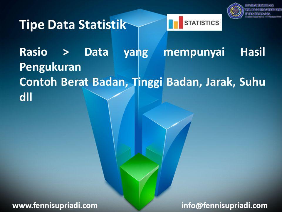 Tipe Data Statistik Rasio > Data yang mempunyai Hasil Pengukuran Contoh Berat Badan, Tinggi Badan, Jarak, Suhu dll www.fennisupriadi.cominfo@fennisupriadi.com