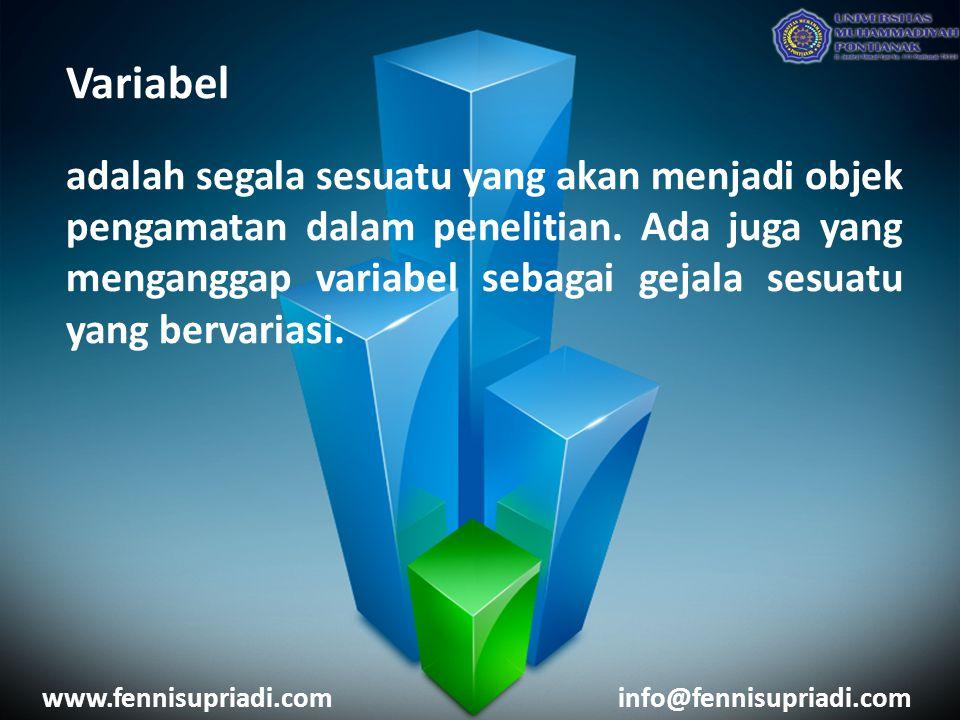 Variabel adalah segala sesuatu yang akan menjadi objek pengamatan dalam penelitian.