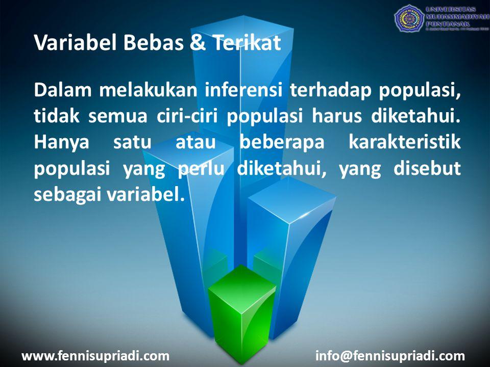Variabel Bebas & Terikat Dalam melakukan inferensi terhadap populasi, tidak semua ciri-ciri populasi harus diketahui.