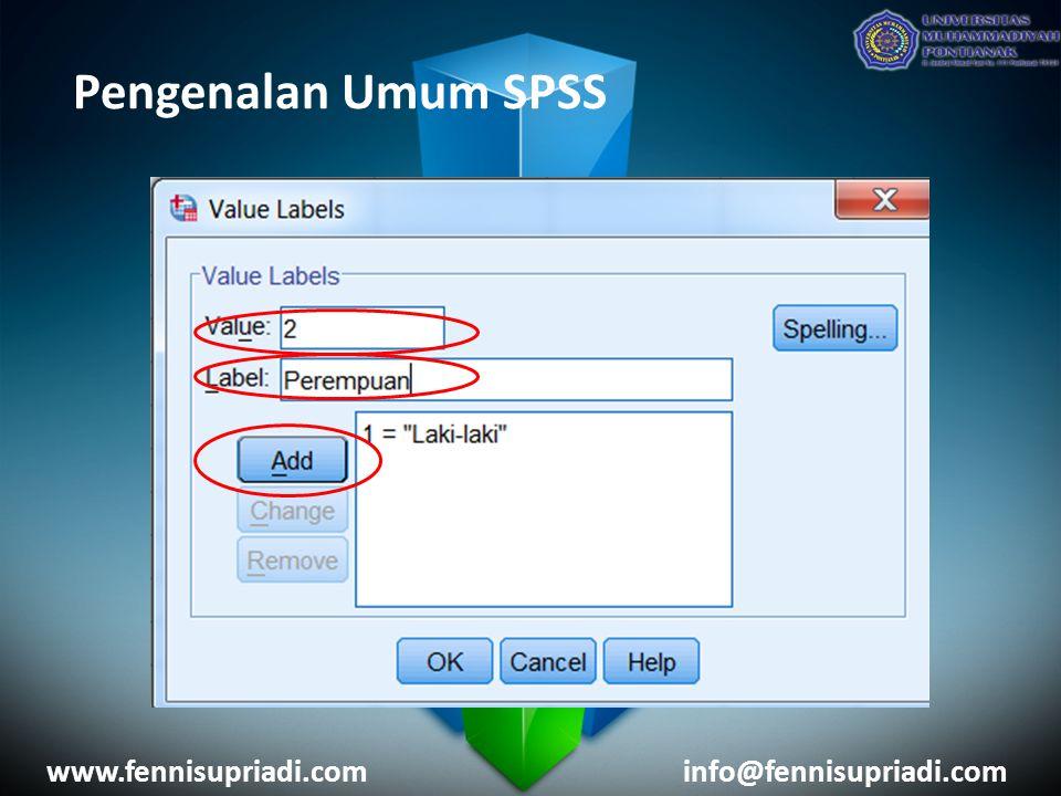 Pengenalan Umum SPSS www.fennisupriadi.cominfo@fennisupriadi.com