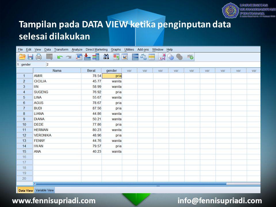 Tampilan pada DATA VIEW ketika penginputan data selesai dilakukan www.fennisupriadi.cominfo@fennisupriadi.com