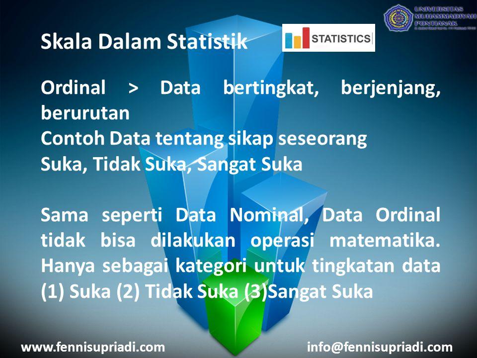 Skala Dalam Statistik Ordinal > Data bertingkat, berjenjang, berurutan Contoh Data tentang sikap seseorang Suka, Tidak Suka, Sangat Suka Sama seperti Data Nominal, Data Ordinal tidak bisa dilakukan operasi matematika.