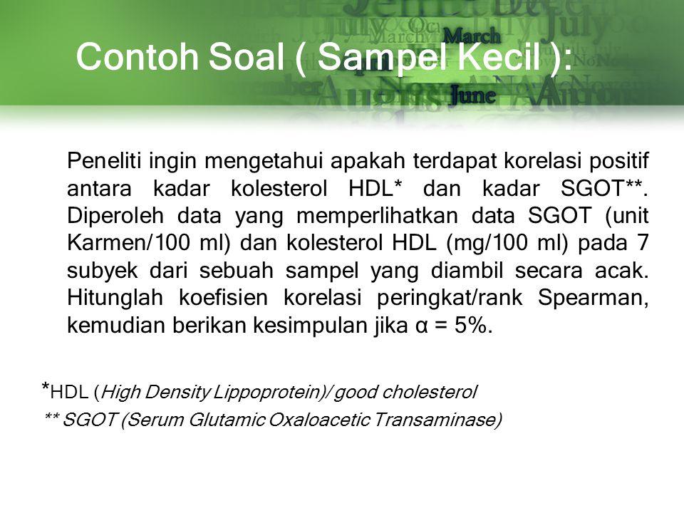 Contoh Soal ( Sampel Kecil ): Peneliti ingin mengetahui apakah terdapat korelasi positif antara kadar kolesterol HDL* dan kadar SGOT**. Diperoleh data