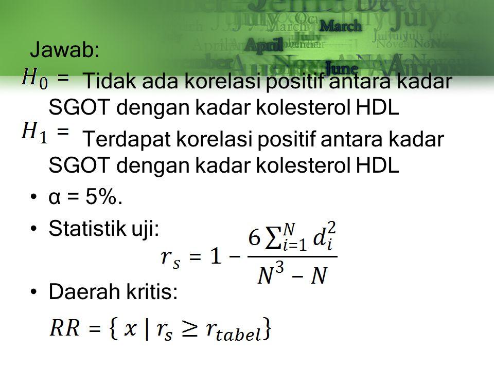 Jawab: Tidak ada korelasi positif antara kadar SGOT dengan kadar kolesterol HDL Terdapat korelasi positif antara kadar SGOT dengan kadar kolesterol HD