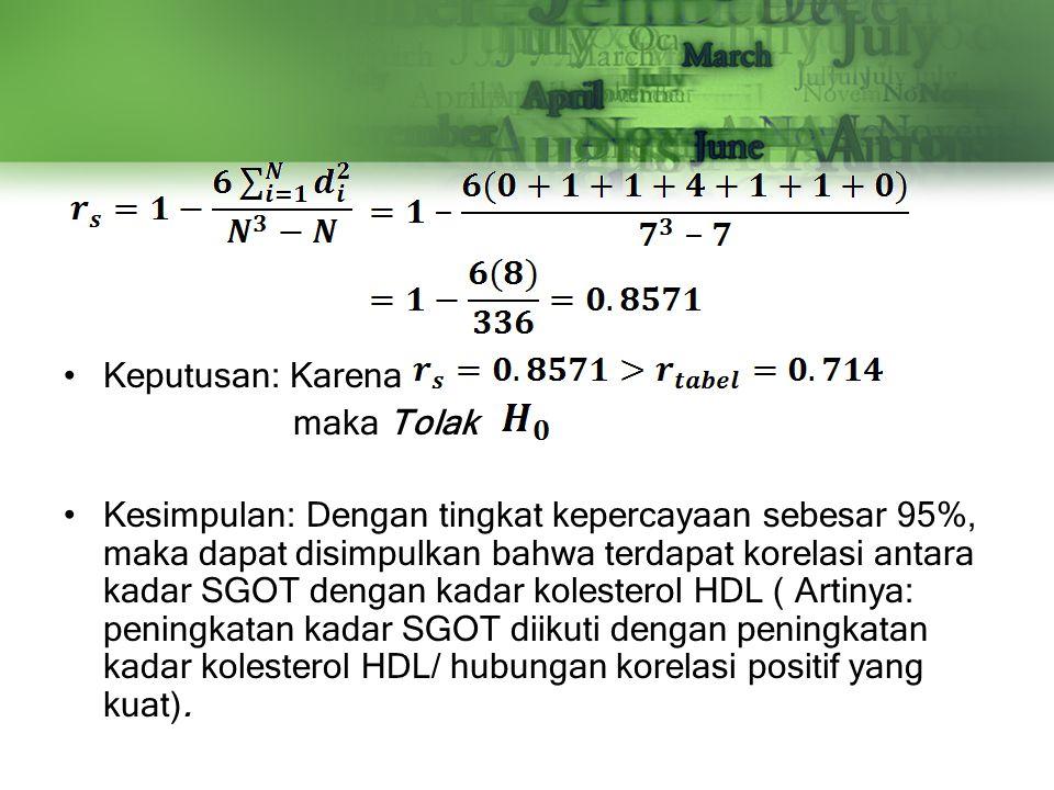 Keputusan: Karena maka Tolak Kesimpulan: Dengan tingkat kepercayaan sebesar 95%, maka dapat disimpulkan bahwa terdapat korelasi antara kadar SGOT deng