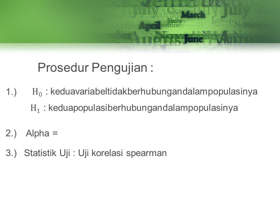 Prosedur Pengujian : 1.) 2.) Alpha = Statistik Uji : Uji korelasi spearman 3.)