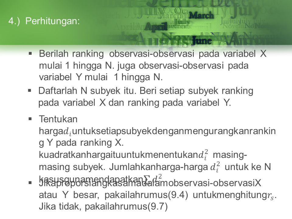 Perhitungan:4.)  Berilah ranking observasi-observasi pada variabel X mulai 1 hingga N. juga observasi-observasi pada variabel Y mulai 1 hingga N.  D