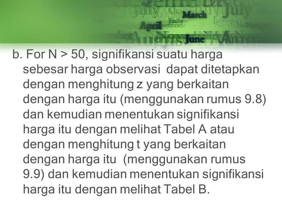 b. For N > 50, signifikansi suatu harga sebesar harga observasi dapat ditetapkan dengan menghitung z yang berkaitan dengan harga itu (menggunakan rumu