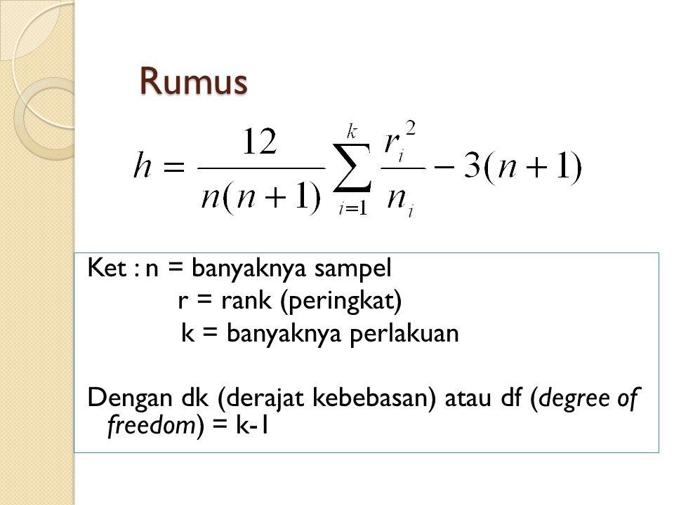 Rumus Ket : n = banyaknya sampel r = rank (peringkat) k = banyaknya perlakuan Dengan dk (derajat kebebasan) atau df (degree of freedom) = k-1