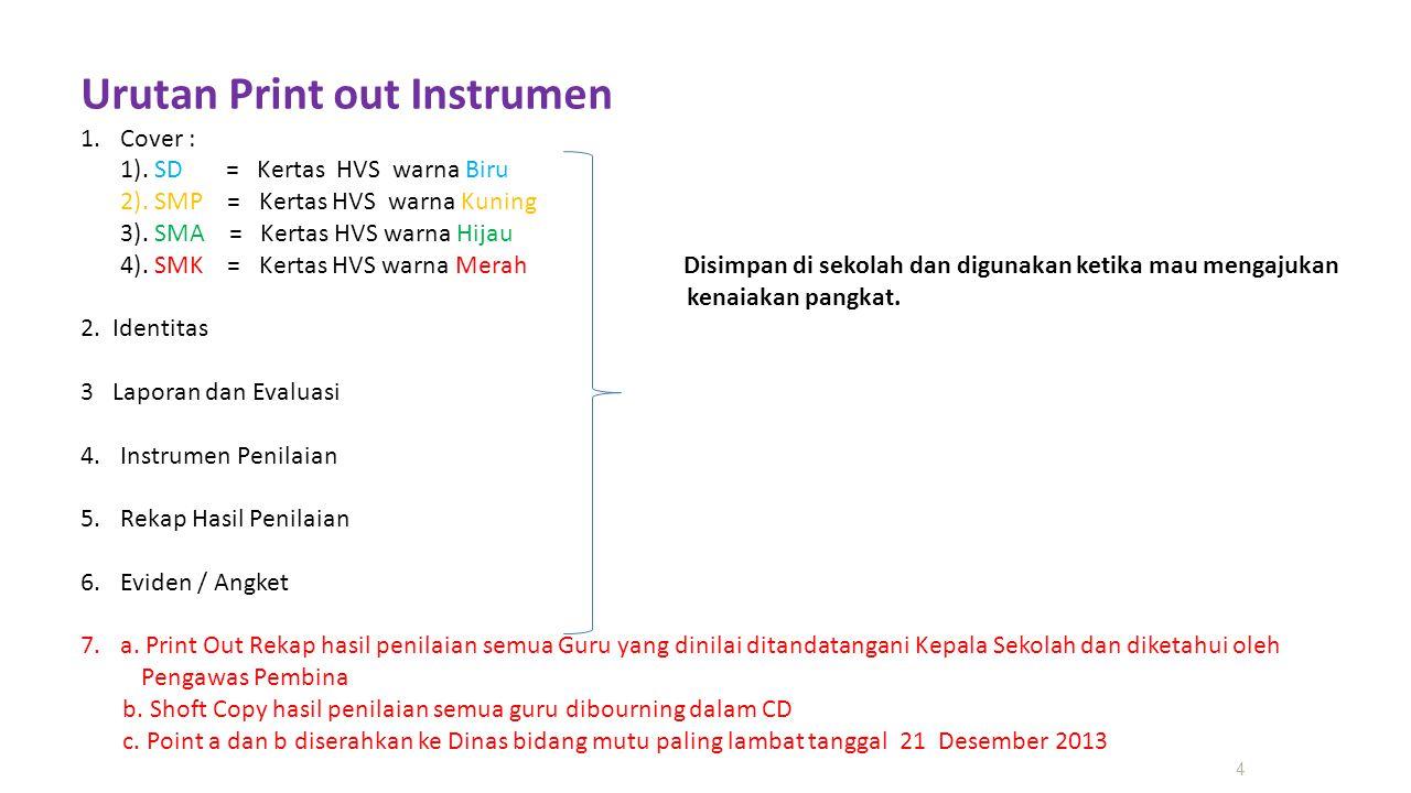 4 Urutan Print out Instrumen 1.Cover : 1). SD = Kertas HVS warna Biru 2). SMP = Kertas HVS warna Kuning 3). SMA = Kertas HVS warna Hijau 4). SMK = Ker