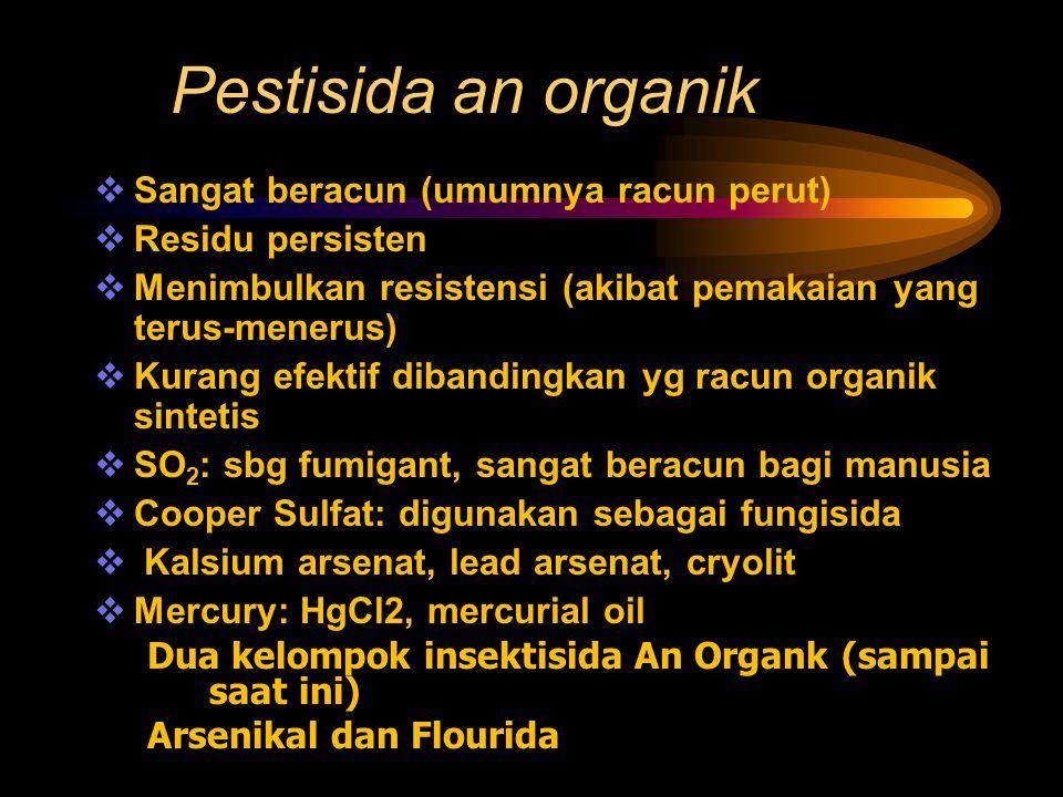 Pestisida an organik  Sangat beracun (umumnya racun perut)  Residu persisten  Menimbulkan resistensi (akibat pemakaian yang terus-menerus)  Kurang