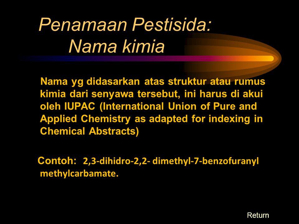 KLASIFIKASI PESTISIDA Berdasarkan derajat toksisitas  Highly toxic LD50 = 1-50 mg/kg brt bdn Pemakaian di luar rumah, pertanian Parathion: 6,8, TEPP (Tertra Ethyl Pyro Phosphate), Thimet Phosdrine, Endrin  Moderately toxic LD50 = 50 – 1000 mg/kg BB Diazinon: 455, Dieldrin, DDVP (Dimethyl Dichlor Vynil Phosphate), Aldrine, Heptachlor, Nicotine Sulfate, Diazinon, Chlordane, Lindane  Slightly toxic LD50 = 1000 – 6000 mg/kg BB malathion: 4445, chlorobenzilate, diphterex, lead arsenate, parisgreen, dichlori diphenil trichloretan, ronnel, malathion, dilan
