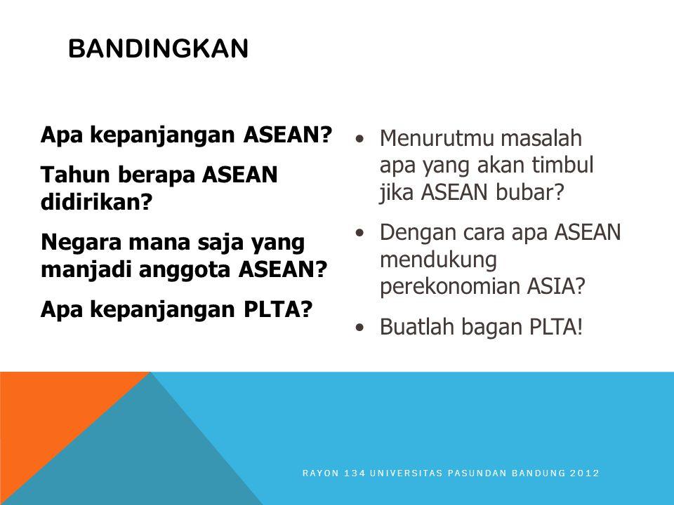 BANDINGKAN Apa kepanjangan ASEAN? Tahun berapa ASEAN didirikan? Negara mana saja yang manjadi anggota ASEAN? Apa kepanjangan PLTA? Menurutmu masalah a