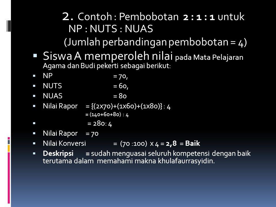 2. Contoh : Pembobotan 2 : 1 : 1 untuk NP : NUTS : NUAS (Jumlah perbandingan pembobotan = 4)  Siswa A memperoleh nilai pada Mata Pelajaran Agama dan