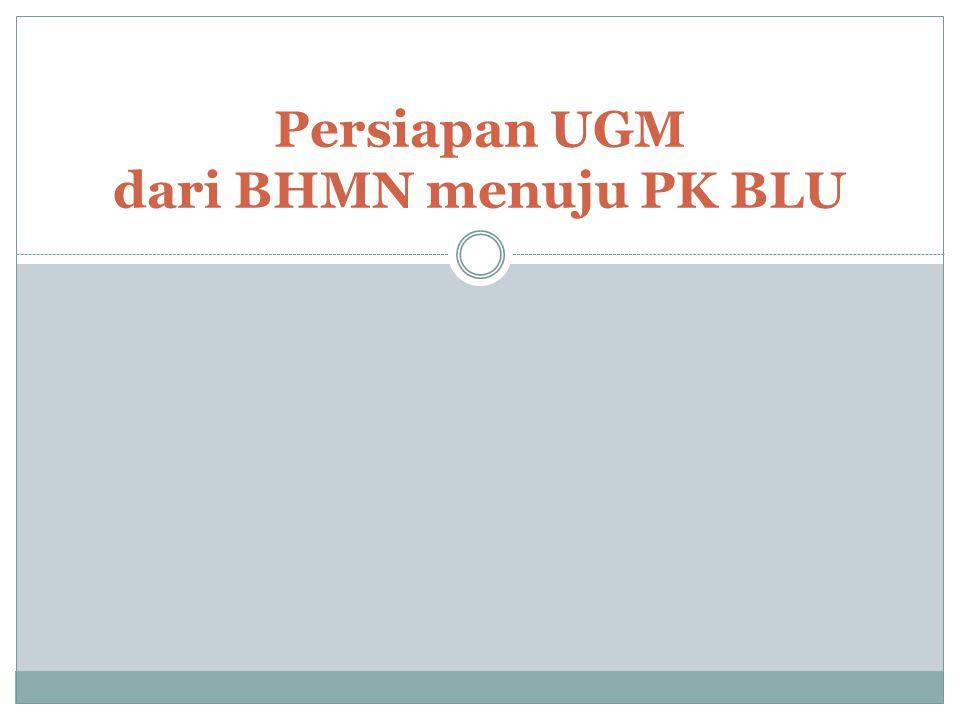 Status UGM sebagai BLU UGM belum ditetapkan secara formal (beseking) menjadi PK BLU, tapi sesuai PP 66 th 2010, seluruh PT BHMN akan menggunakan PK BLU.