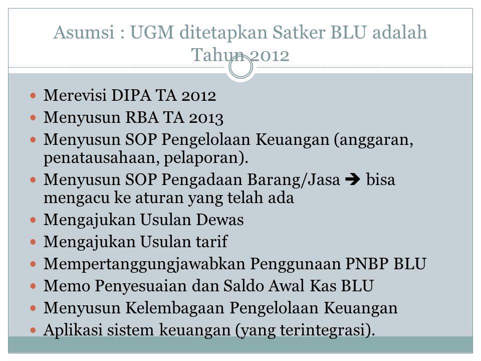Asumsi : UGM ditetapkan Satker BLU adalah Tahun 2012 Merevisi DIPA TA 2012 Menyusun RBA TA 2013 Menyusun SOP Pengelolaan Keuangan (anggaran, penatausa
