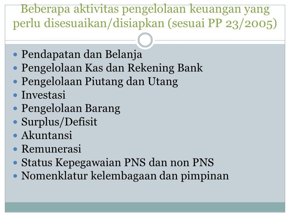 Beberapa aktivitas pengelolaan keuangan yang perlu disesuaikan/disiapkan (sesuai PP 23/2005) Pendapatan dan Belanja Pengelolaan Kas dan Rekening Bank