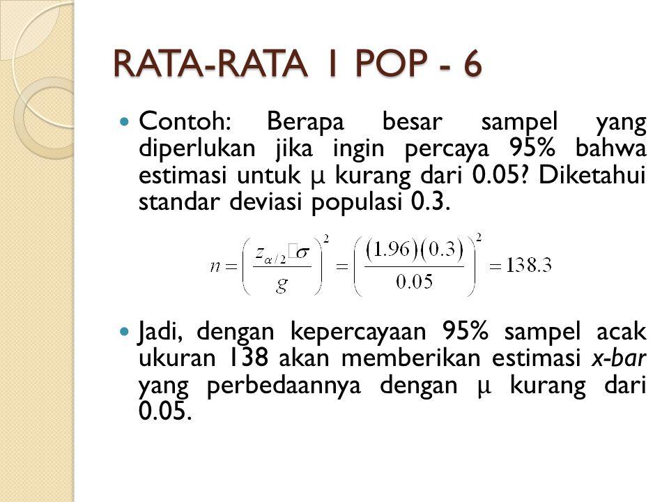 RATA-RATA 1 POP - 6 Contoh: Berapa besar sampel yang diperlukan jika ingin percaya 95% bahwa estimasi untuk μ kurang dari 0.05.