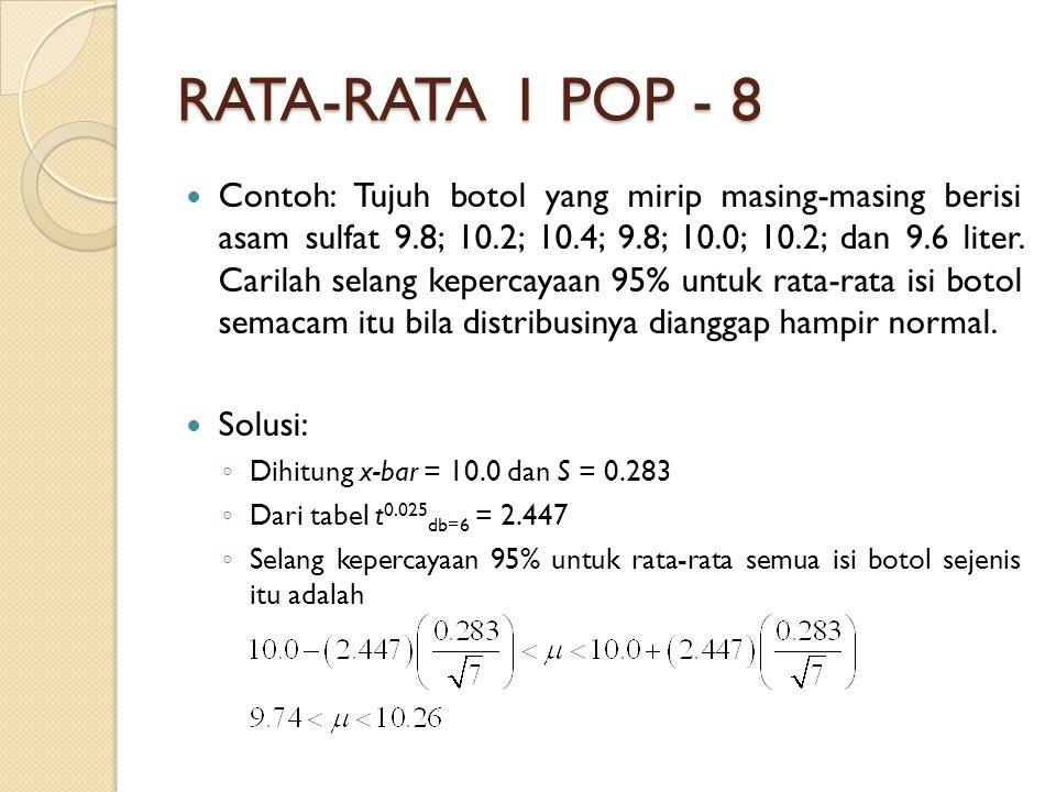 RATA-RATA 1 POP - 8 Contoh: Tujuh botol yang mirip masing-masing berisi asam sulfat 9.8; 10.2; 10.4; 9.8; 10.0; 10.2; dan 9.6 liter.