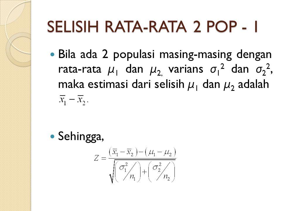 SELISIH RATA-RATA 2 POP - 1 Bila ada 2 populasi masing-masing dengan rata-rata μ 1 dan μ 2, varians σ 1 2 dan σ 2 2, maka estimasi dari selisih μ 1 dan μ 2 adalah Sehingga,