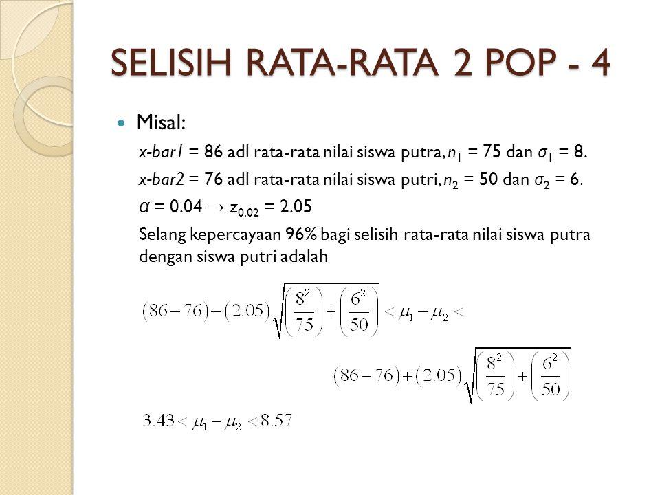 SELISIH RATA-RATA 2 POP - 4 Misal: x-bar1 = 86 adl rata-rata nilai siswa putra, n 1 = 75 dan σ 1 = 8.