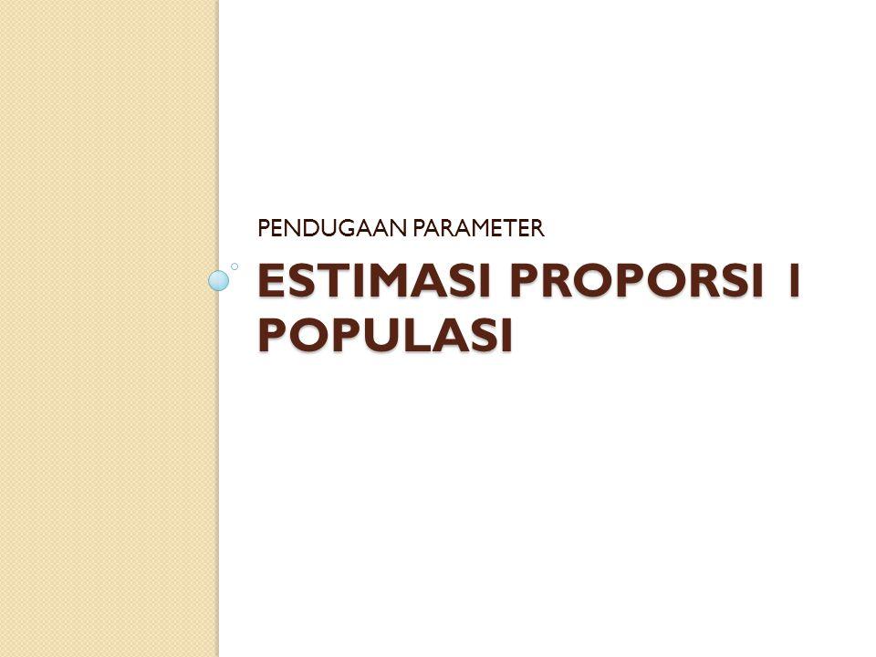 ESTIMASI PROPORSI 1 POPULASI PENDUGAAN PARAMETER