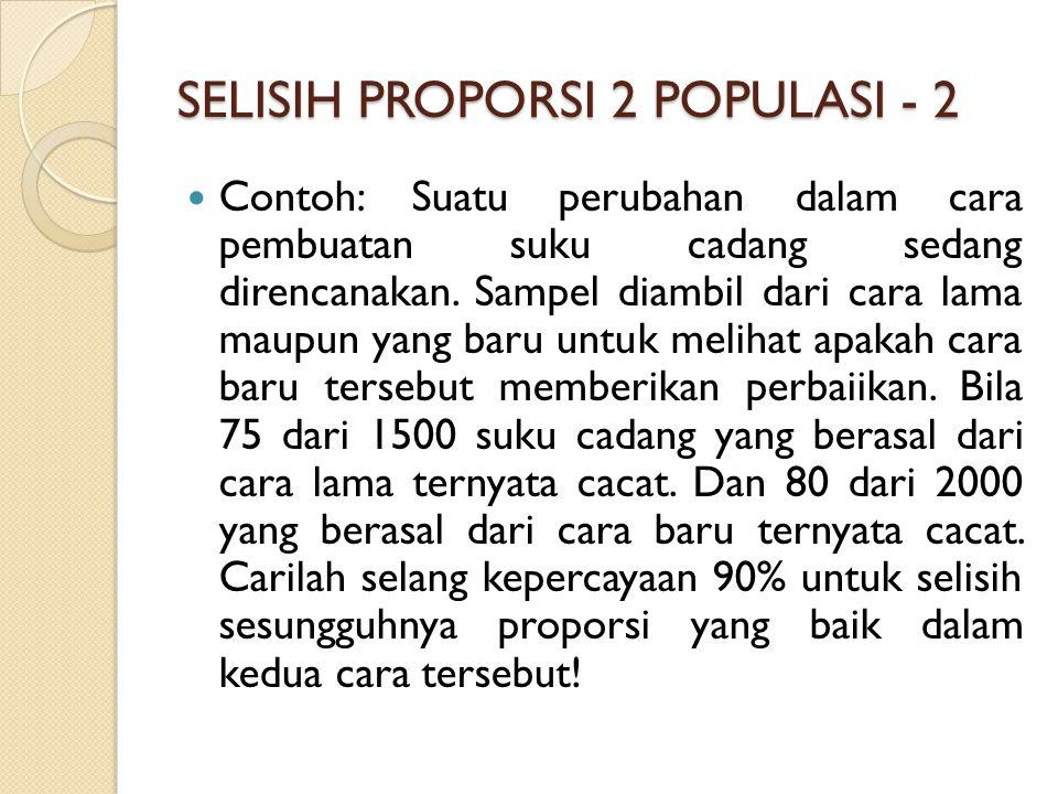 SELISIH PROPORSI 2 POPULASI - 2 Contoh: Suatu perubahan dalam cara pembuatan suku cadang sedang direncanakan.