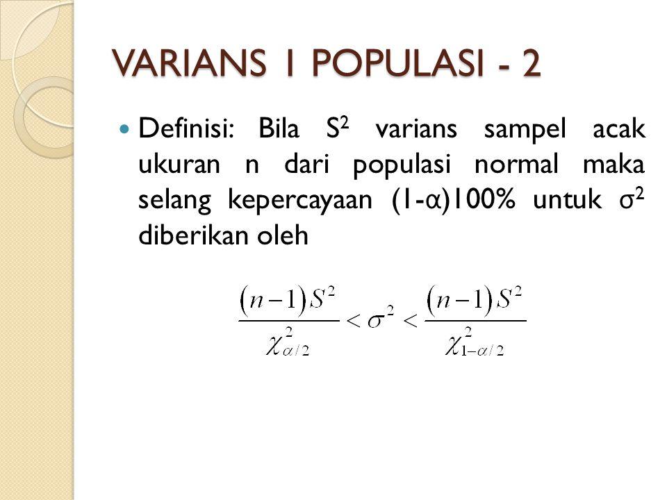 VARIANS 1 POPULASI - 2 Definisi: Bila S 2 varians sampel acak ukuran n dari populasi normal maka selang kepercayaan (1- α )100% untuk σ 2 diberikan oleh