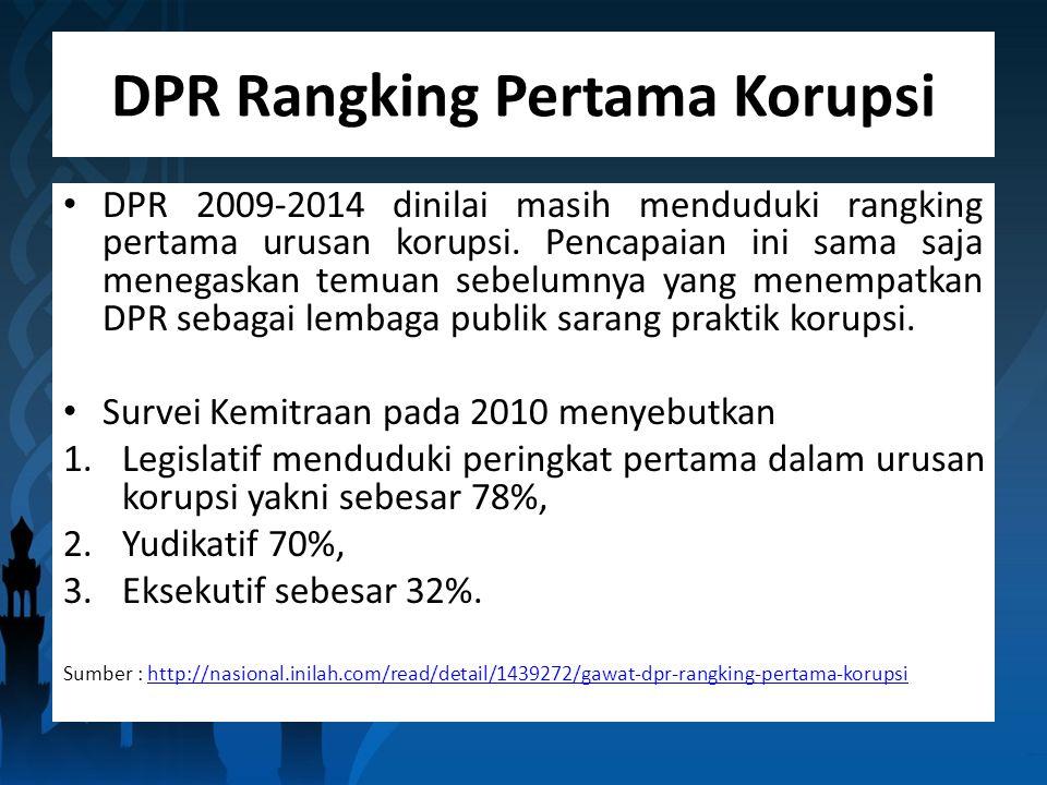 DPR Rangking Pertama Korupsi DPR 2009-2014 dinilai masih menduduki rangking pertama urusan korupsi.