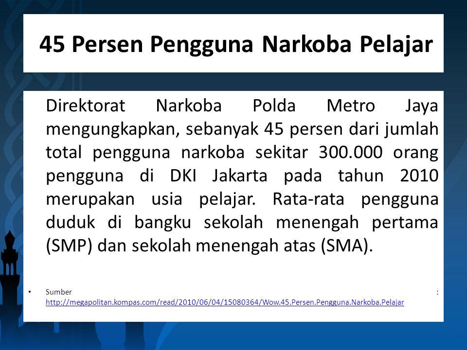 45 Persen Pengguna Narkoba Pelajar Direktorat Narkoba Polda Metro Jaya mengungkapkan, sebanyak 45 persen dari jumlah total pengguna narkoba sekitar 300.000 orang pengguna di DKI Jakarta pada tahun 2010 merupakan usia pelajar.