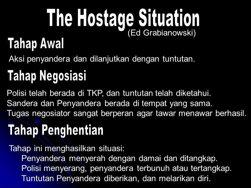 Tahap ini menghasilkan situasi: Penyandera menyerah dengan damai dan ditangkap. Polisi menyerang, penyandera terbunuh atau tertangkap. Tuntutan Penyan