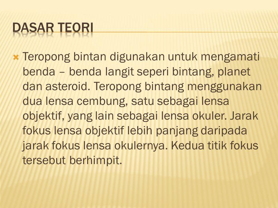  Untuk mengetahui cara membuat teropong bintang dan prinsip kerja dari teropong bintang