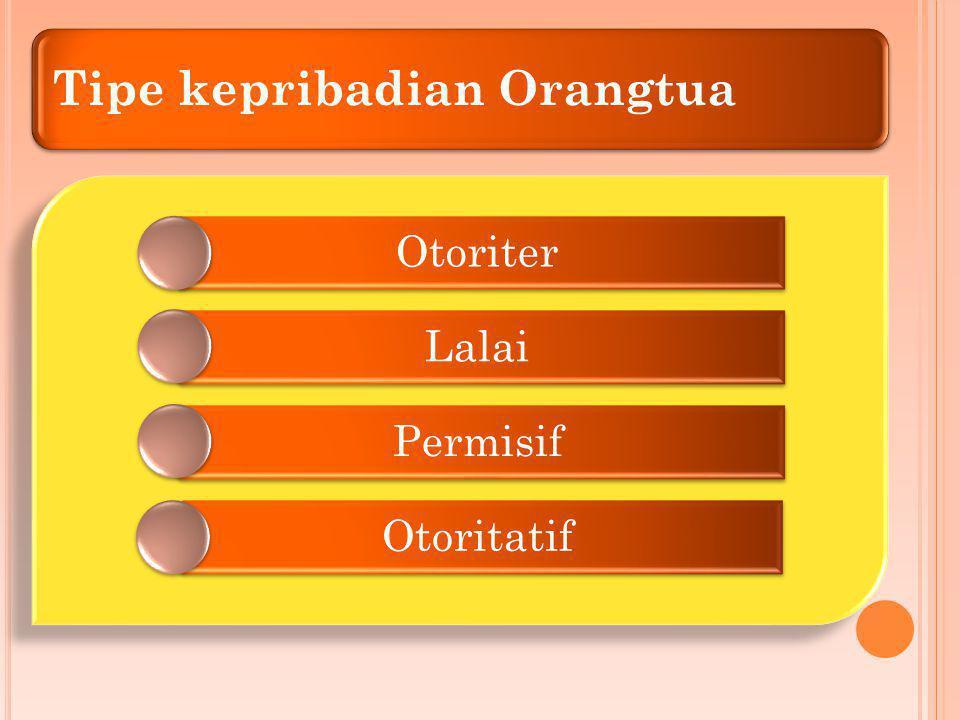 Tipe kepribadian Orangtua Otoriter Lalai Permisif Otoritatif