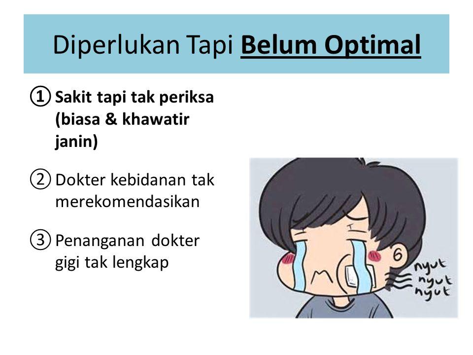 Diperlukan Tapi Belum Optimal ①Sakit tapi tak periksa (biasa & khawatir janin) ②Dokter kebidanan tak merekomendasikan ③Penanganan dokter gigi tak lengkap 49% Tak beri rekomendasi 49% Tak beri rekomendasi