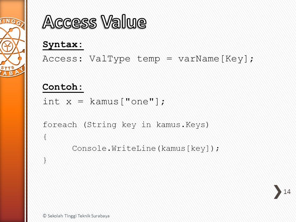 Syntax: Access: ValType temp = varName[Key]; Contoh: int x = kamus[ one ]; foreach (String key in kamus.Keys) { Console.WriteLine(kamus[key]); } 14 © Sekolah Tinggi Teknik Surabaya